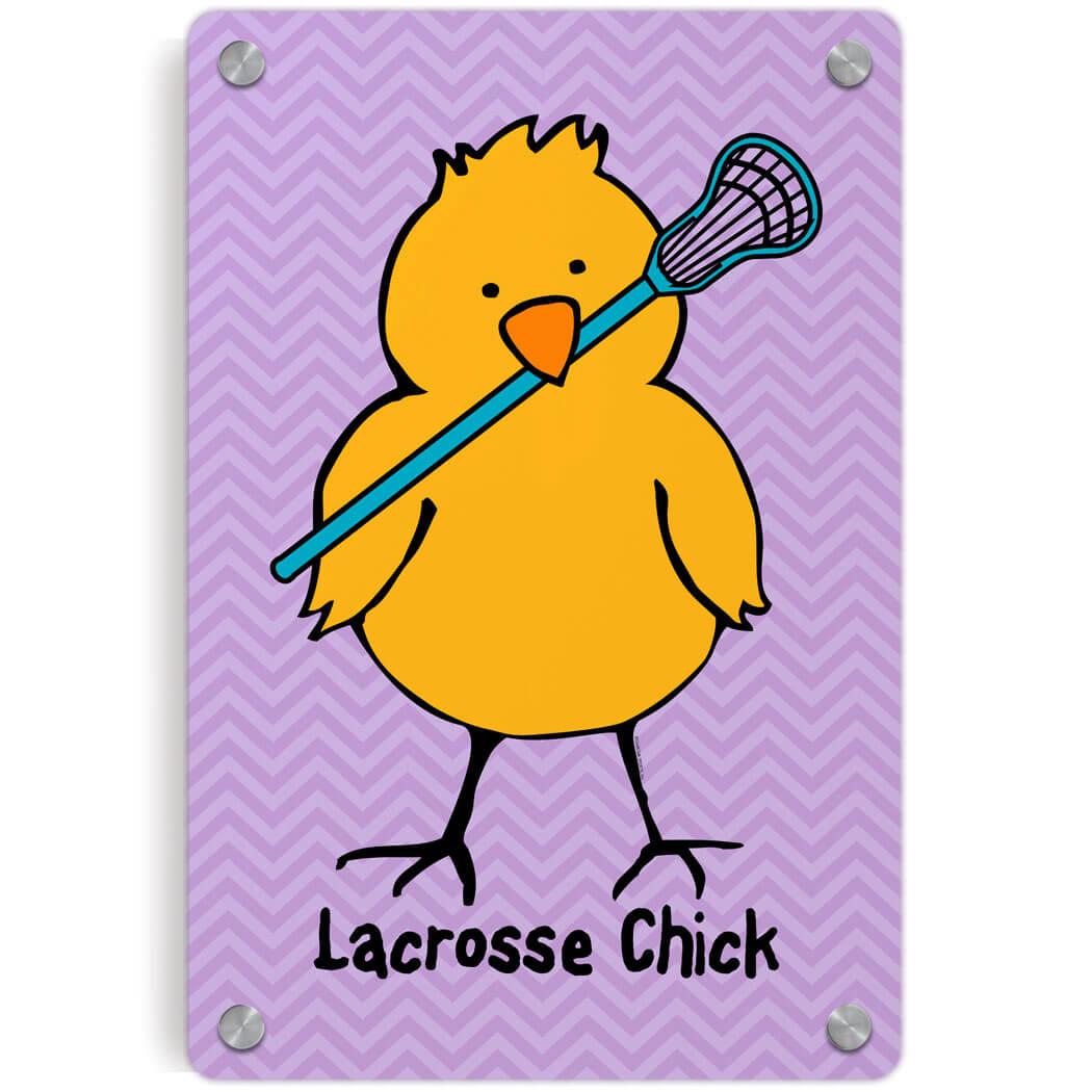 Girls Lacrosse Metal Wall Art Panel - Lacrosse Chick Chevron   LuLaLax
