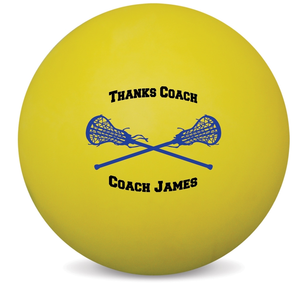Personalized Thanks Coach Lacrosse Ball (Yellow Ball)