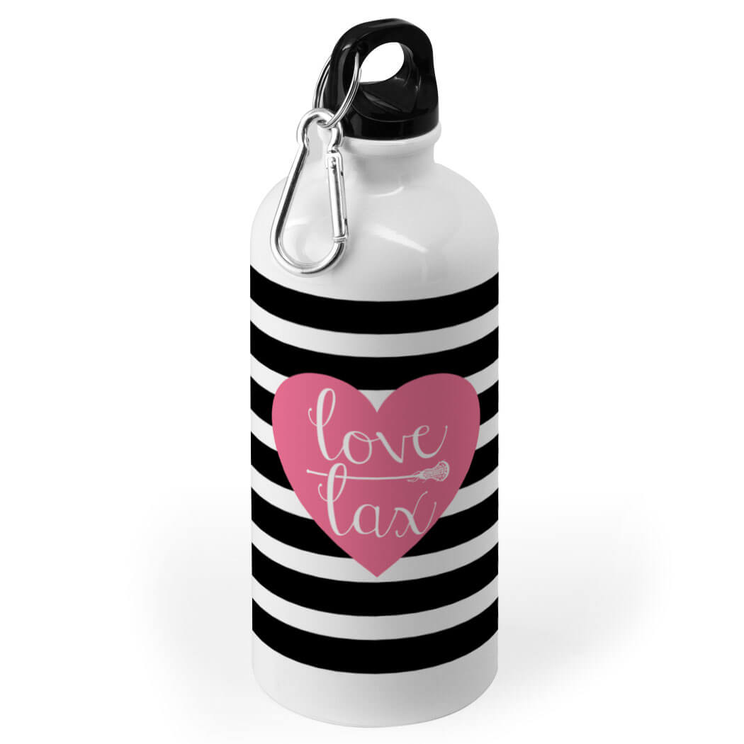 Girls Lacrosse 20 oz  Stainless Steel Water Bottle - Love Lax Heart