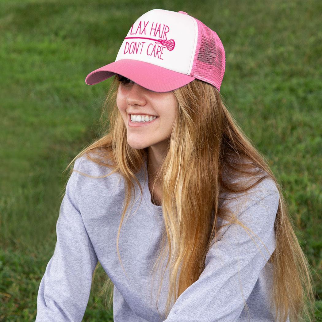 ... Girls Lacrosse Trucker Hat Lax Hair Don t Care 89a678937e1