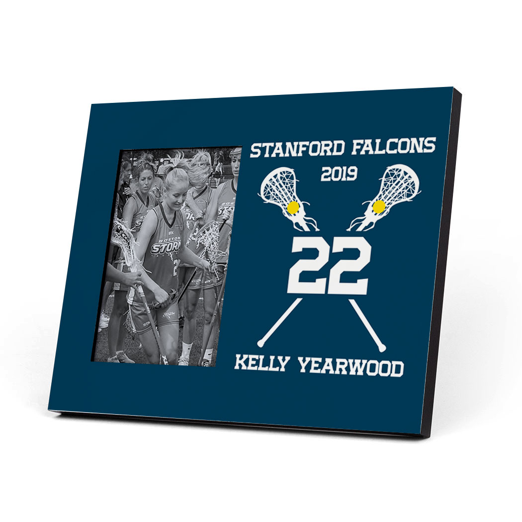 Girls Lacrosse Photo Frame - Crossed Lacrosse Sticks - Personalization Image