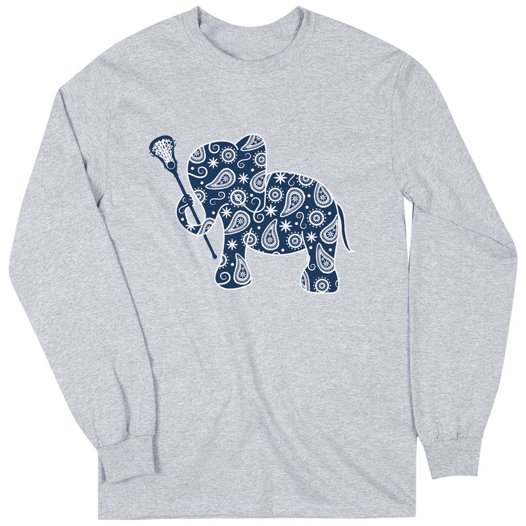 3d43be04b Girls Lacrosse Long Sleeve T-Shirt - Lax Elephant Click to Enlarge