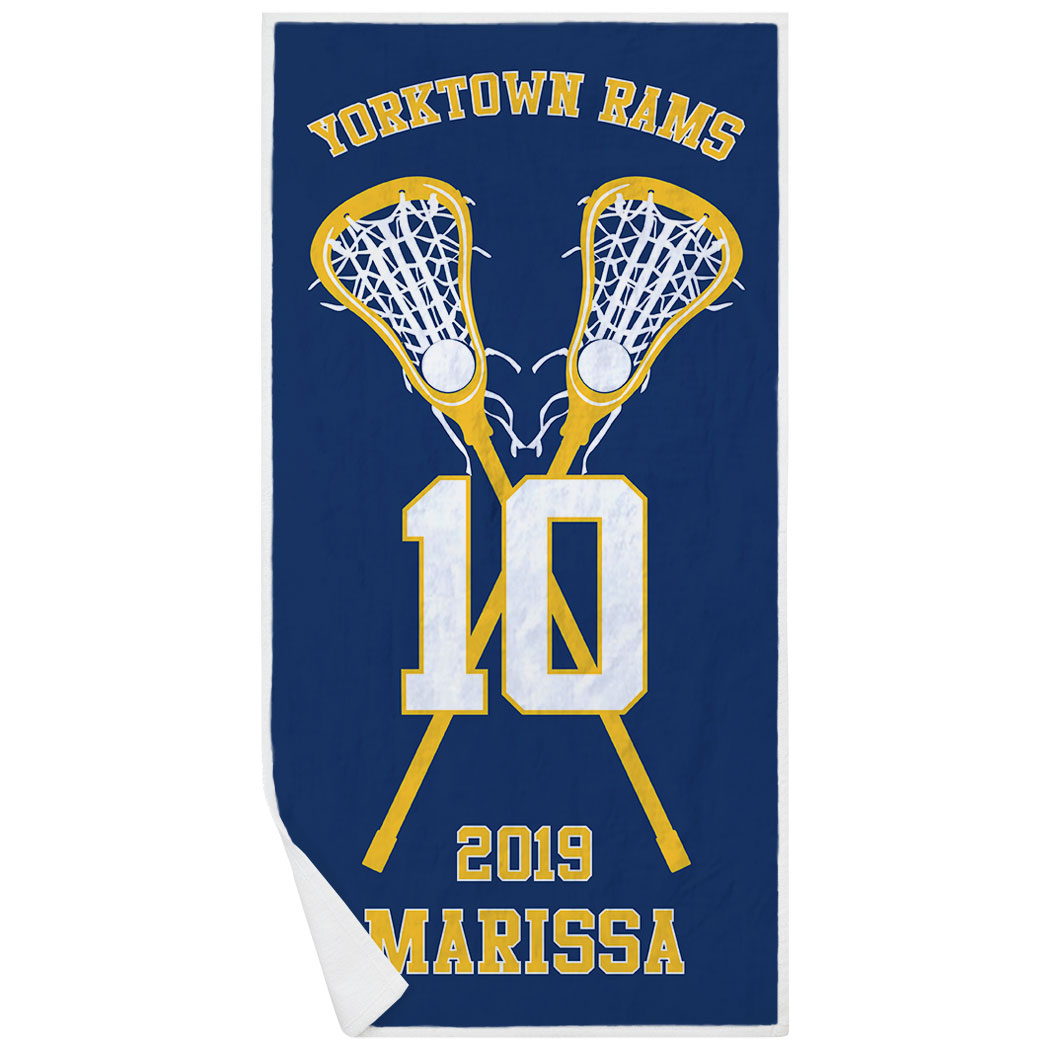 Girls Lacrosse Premium Beach Towel - Personalized Team with Crossed Sticks