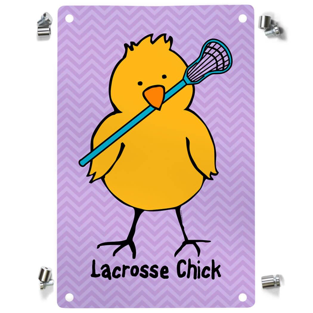 Girls Lacrosse Metal Wall Art Panel - Lacrosse Chick Chevron | LuLaLax