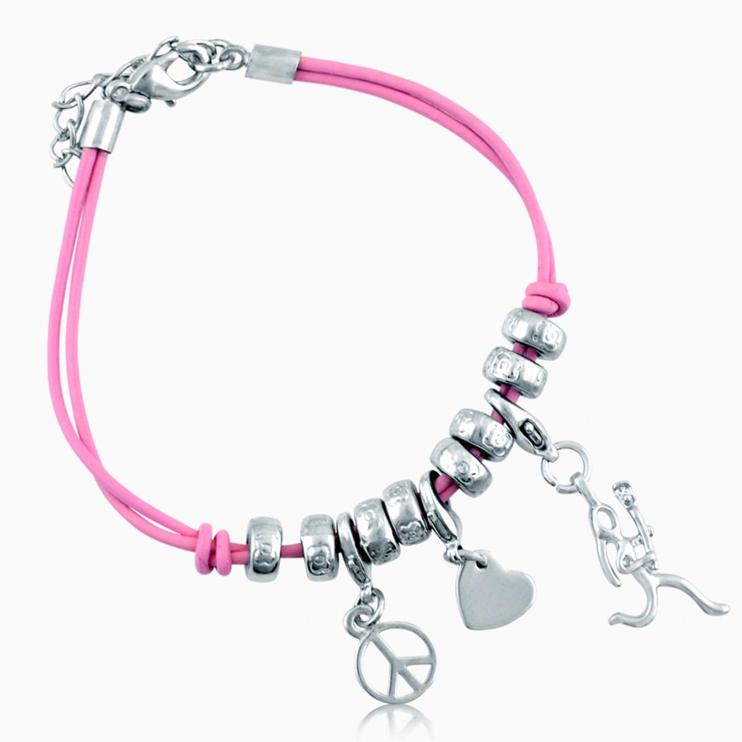 Love. Lacrosse Girl (Stick Figure) Silver Charm Bracelet