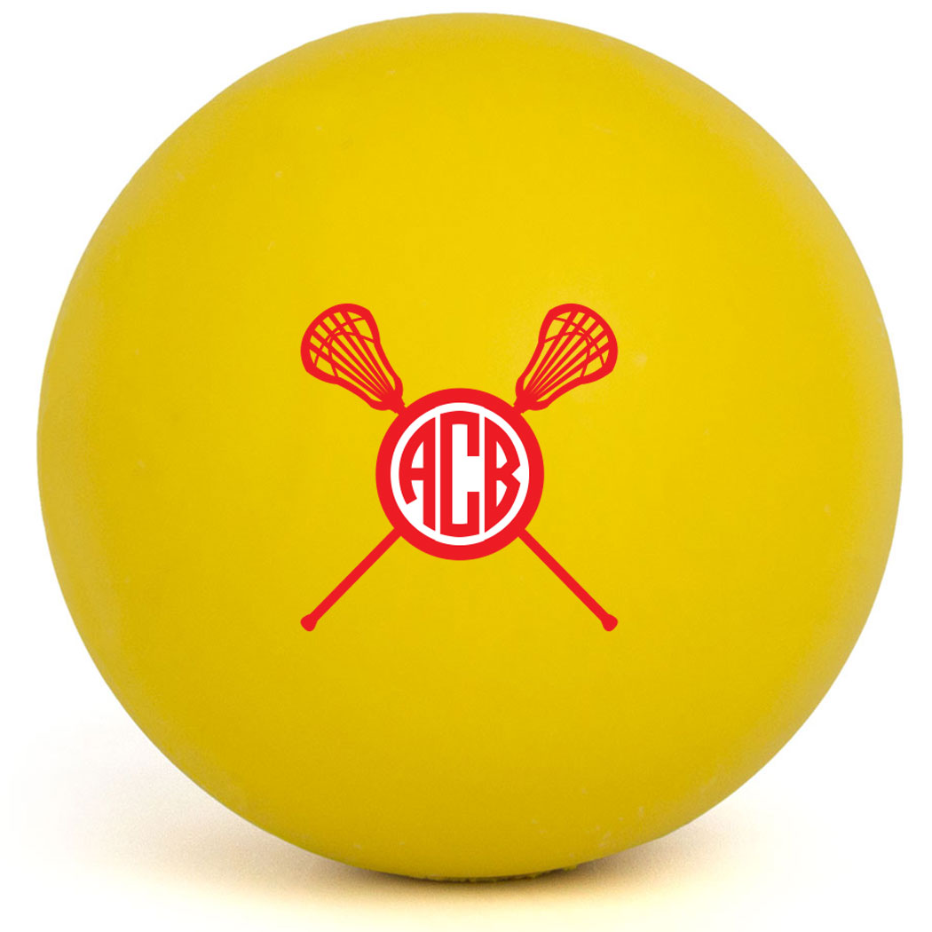 Girls Lacrosse Ball - Monogram with Crossed Sticks