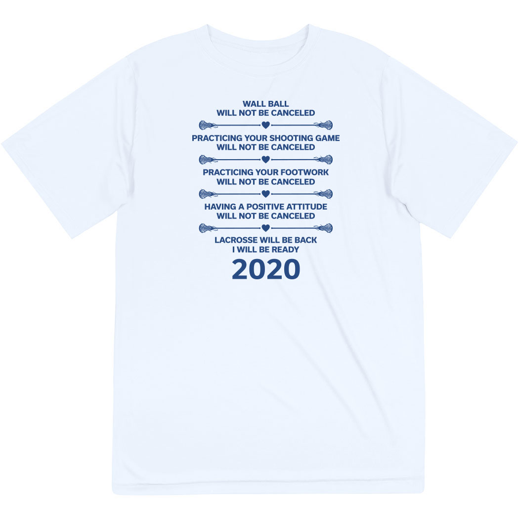 Girls Lacrosse Short Sleeve Performance Tee - Lacrosse Will Be Back 2020