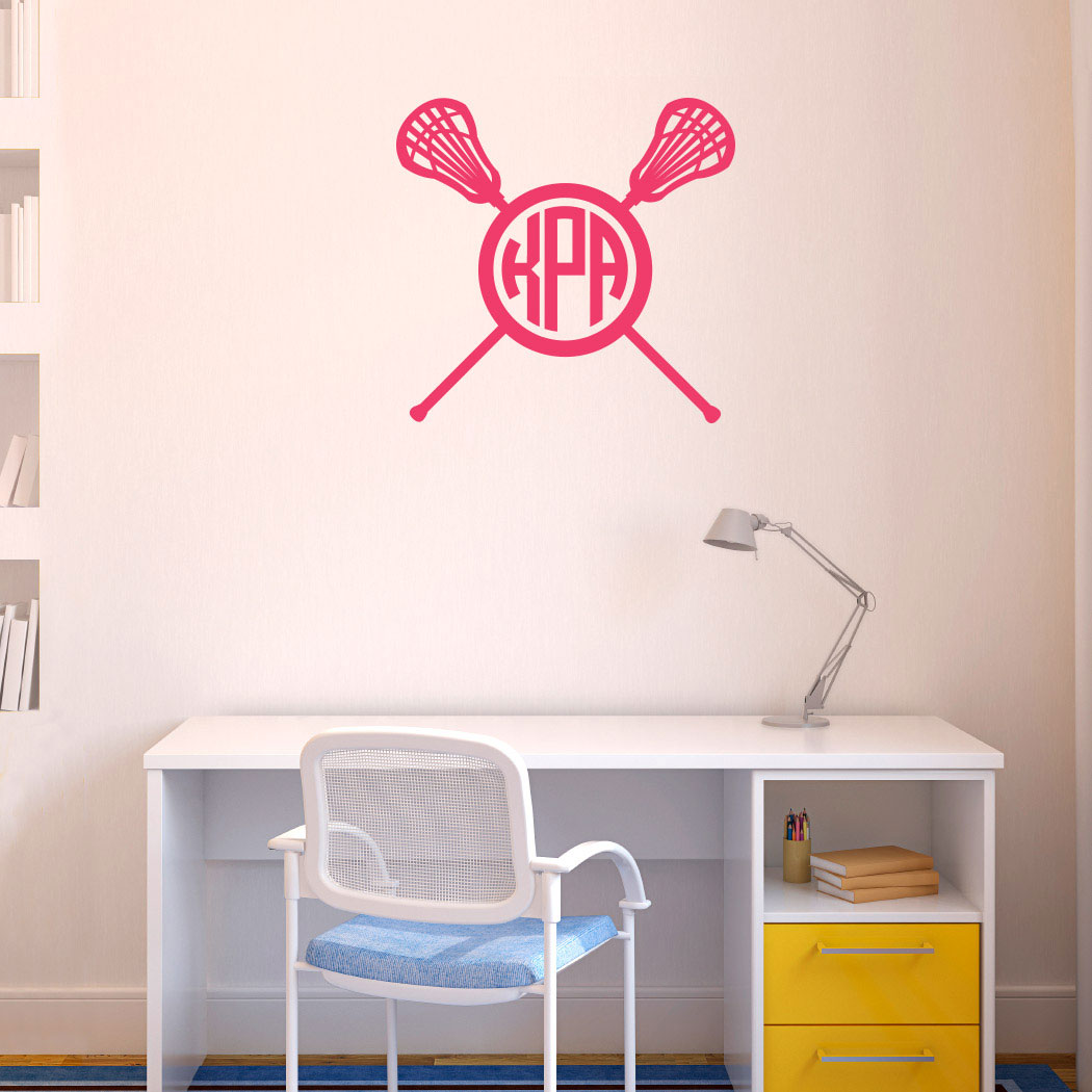 Monogrammed Lacrosse Stick Wall Decal Lulalax