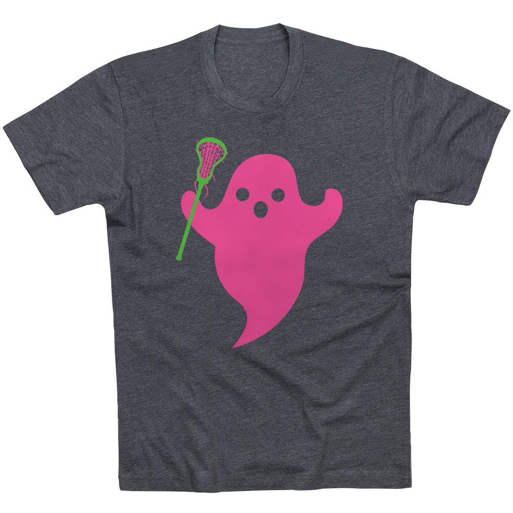 Girls Lacrosse Short Sleeve Tee - Pink Ghost with lacrosse Stick