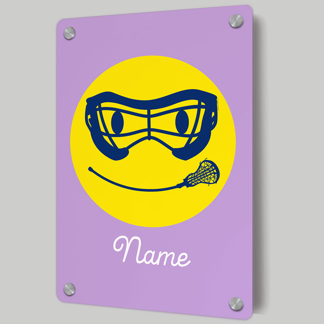 Girls Lacrosse Metal Wall Art Panel - Smiley Face | LuLaLax