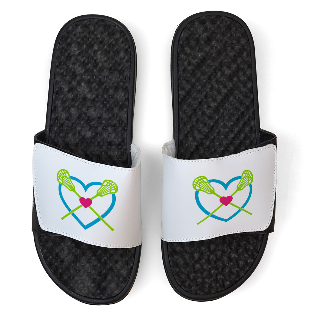 White Girls Lacrosse Slide Sandals - Lax Heart with Crossed Sticks