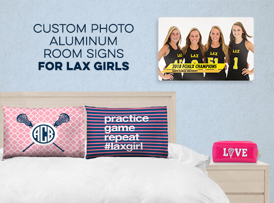Girls Lacrosse 18 X 12 Aluminum Room Sign - Classic Horizontal Photo