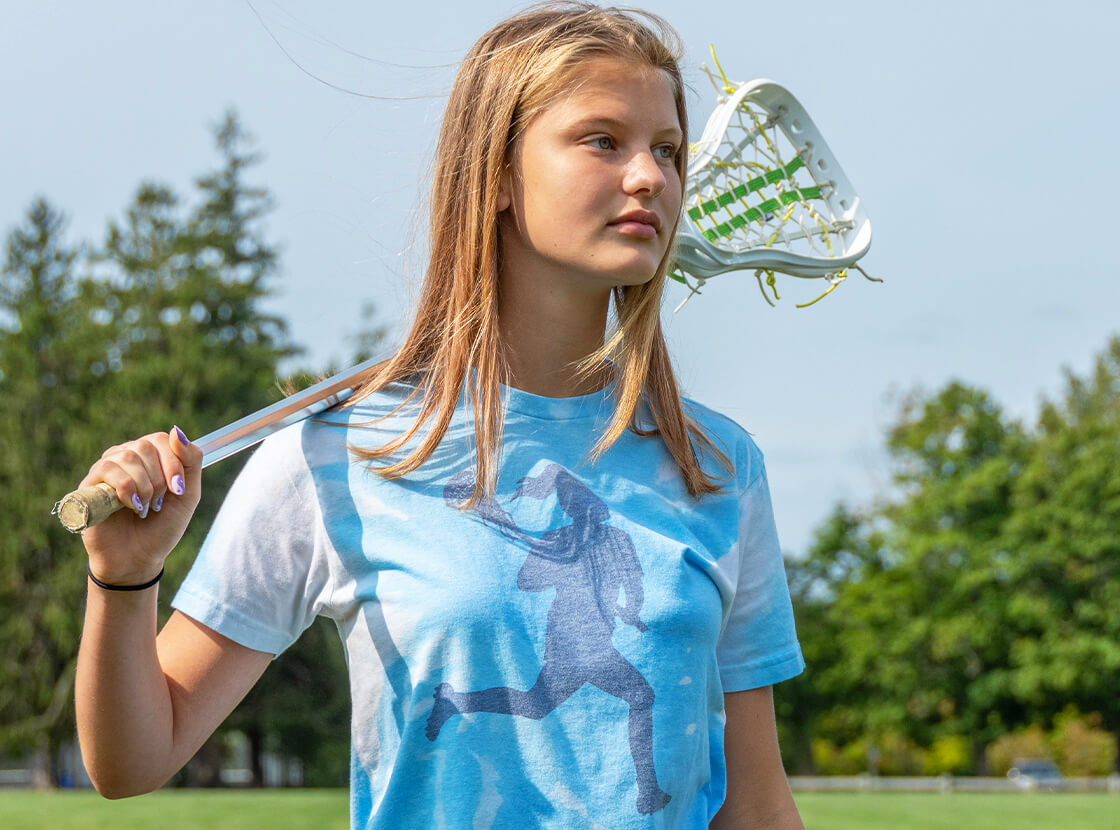 Girls Lacrosse Player Tie-Dye T-Shirt
