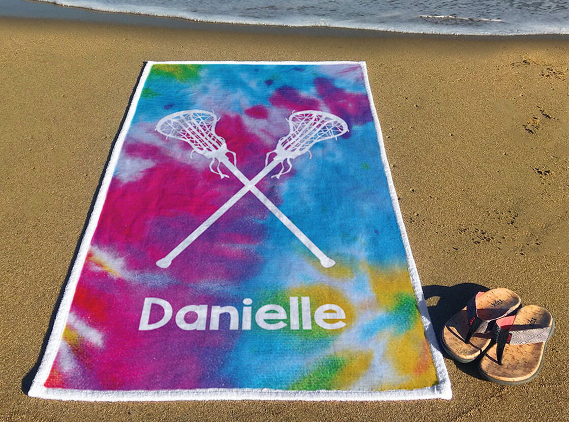Personalized Tie Dye Pattern with Sticks Premium Towel