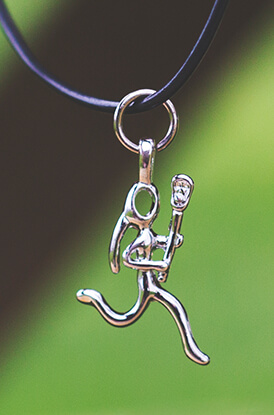 Silver Lacrosse Girl (Stick Figure) Necklace