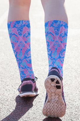 Floral Crossed Sticks Printed Mid-Calf Socks