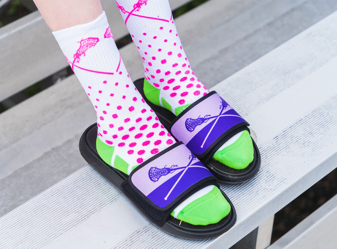 Shop Repwell Slide Sandals for Girls Lacrosse
