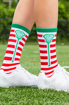 Stripes (Red/White) Lacrosse Woven Mid-Calf Socks