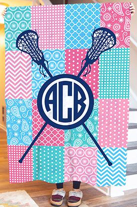 Girls Lacrosse Lax Quilt Monogram Premium Blanket