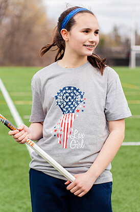 Patriotic Lax Girl Short Sleeve T-Shirt
