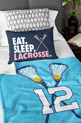 Girls Lacrosse Personalized Player with Crossed Sticks Premium Blanket