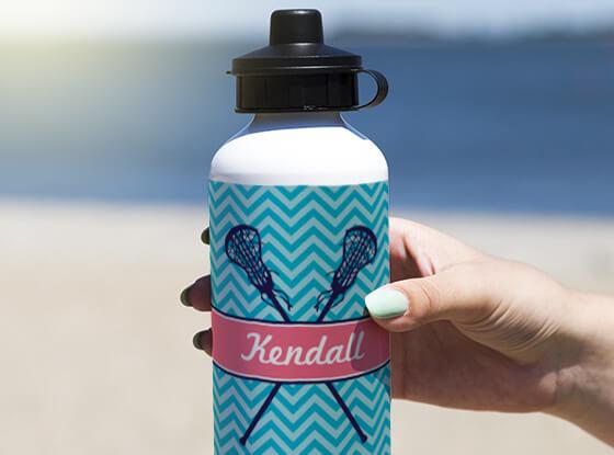 Personalized Girl Lacrosse Sticks Chevron Water Bottle