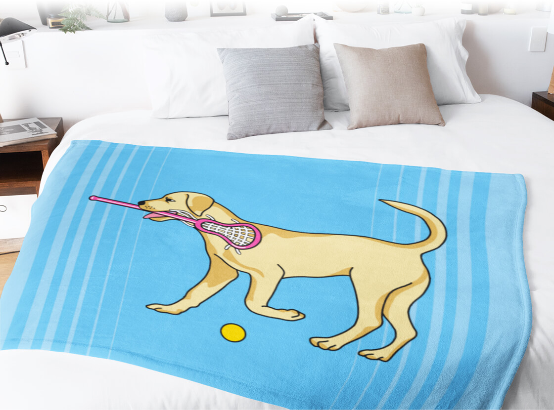 Girls Lacrosse Dog Premium Blanket